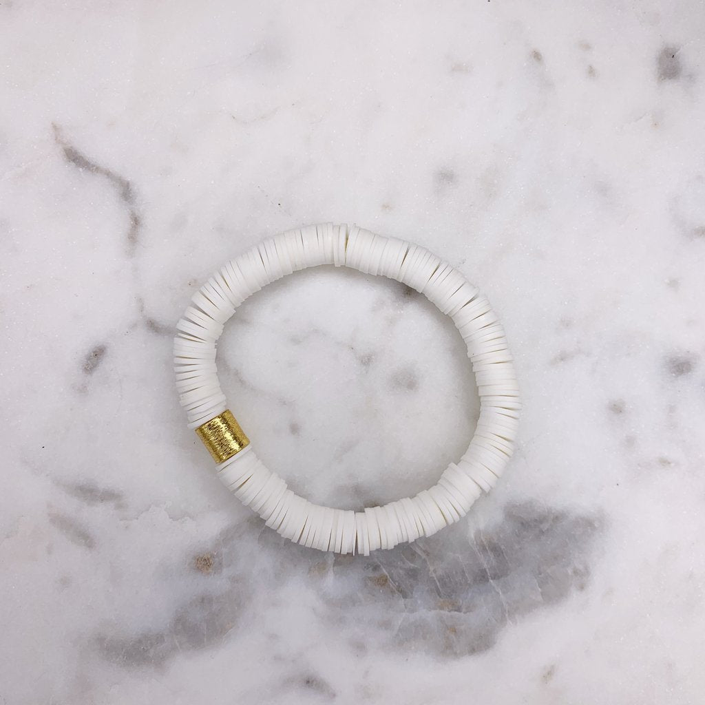 White {COLOR POP} Heishi Beads Bracelet