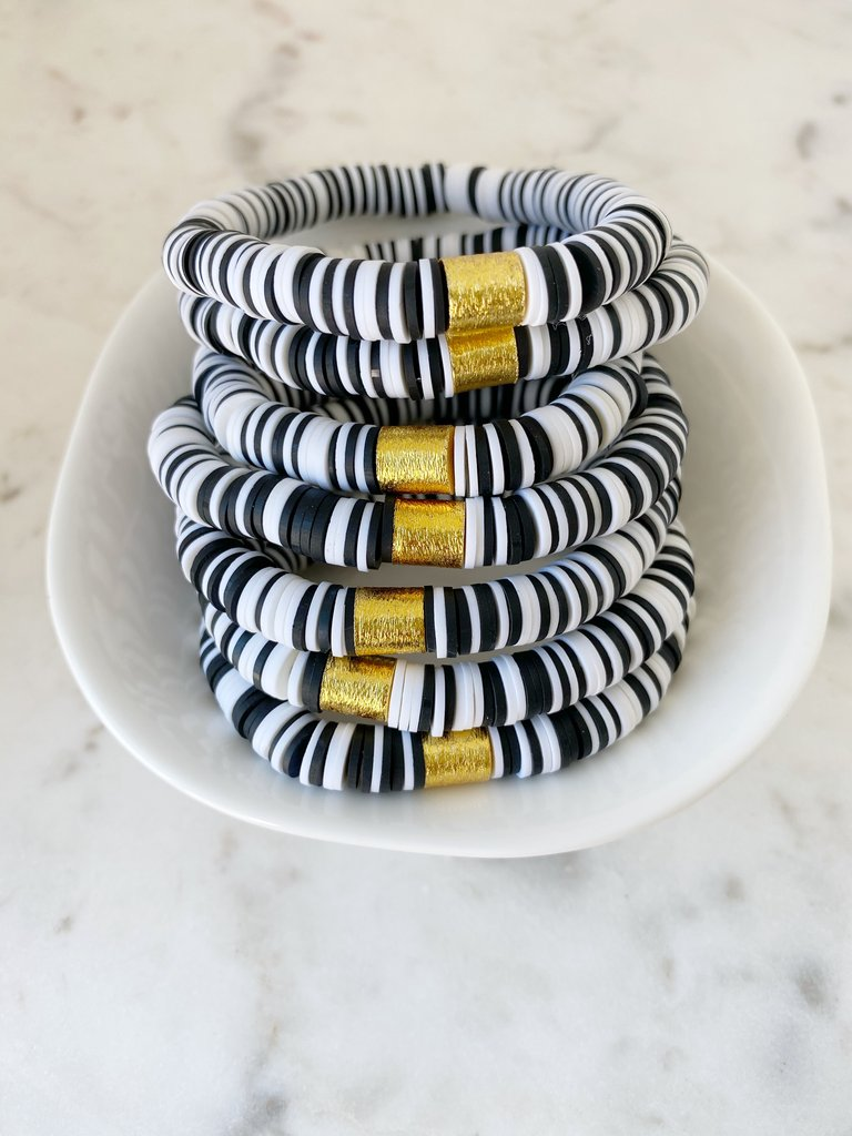 Black + White {COLOR POP} Heishi Beads Bracelet