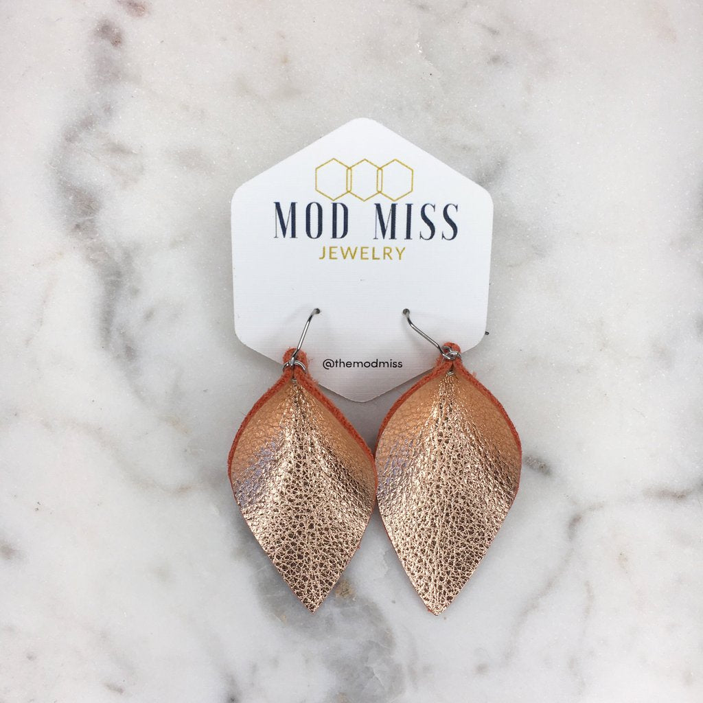 """Shiloh"" Metallic Rose Gold Leather Jo Petal Earrings"