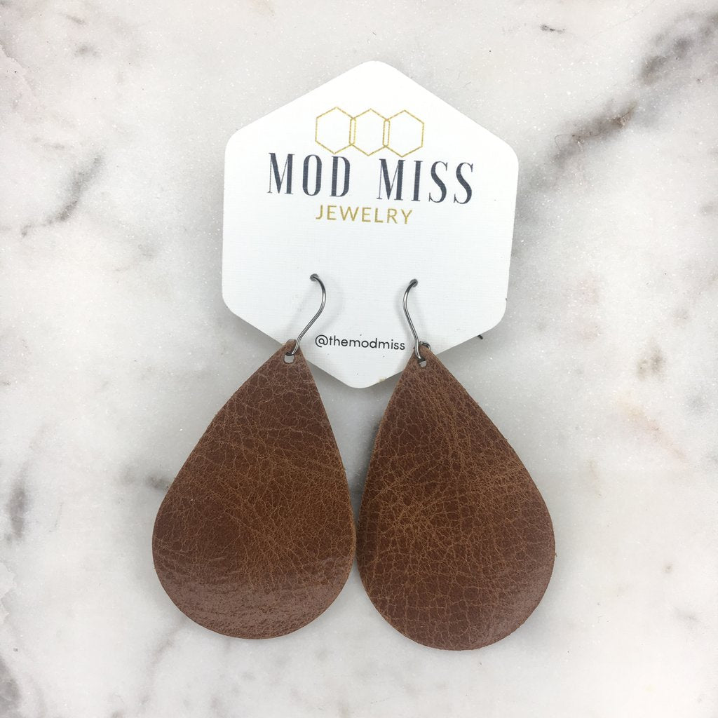"""River"" Worn Brown Leather Teardrop Earrings"