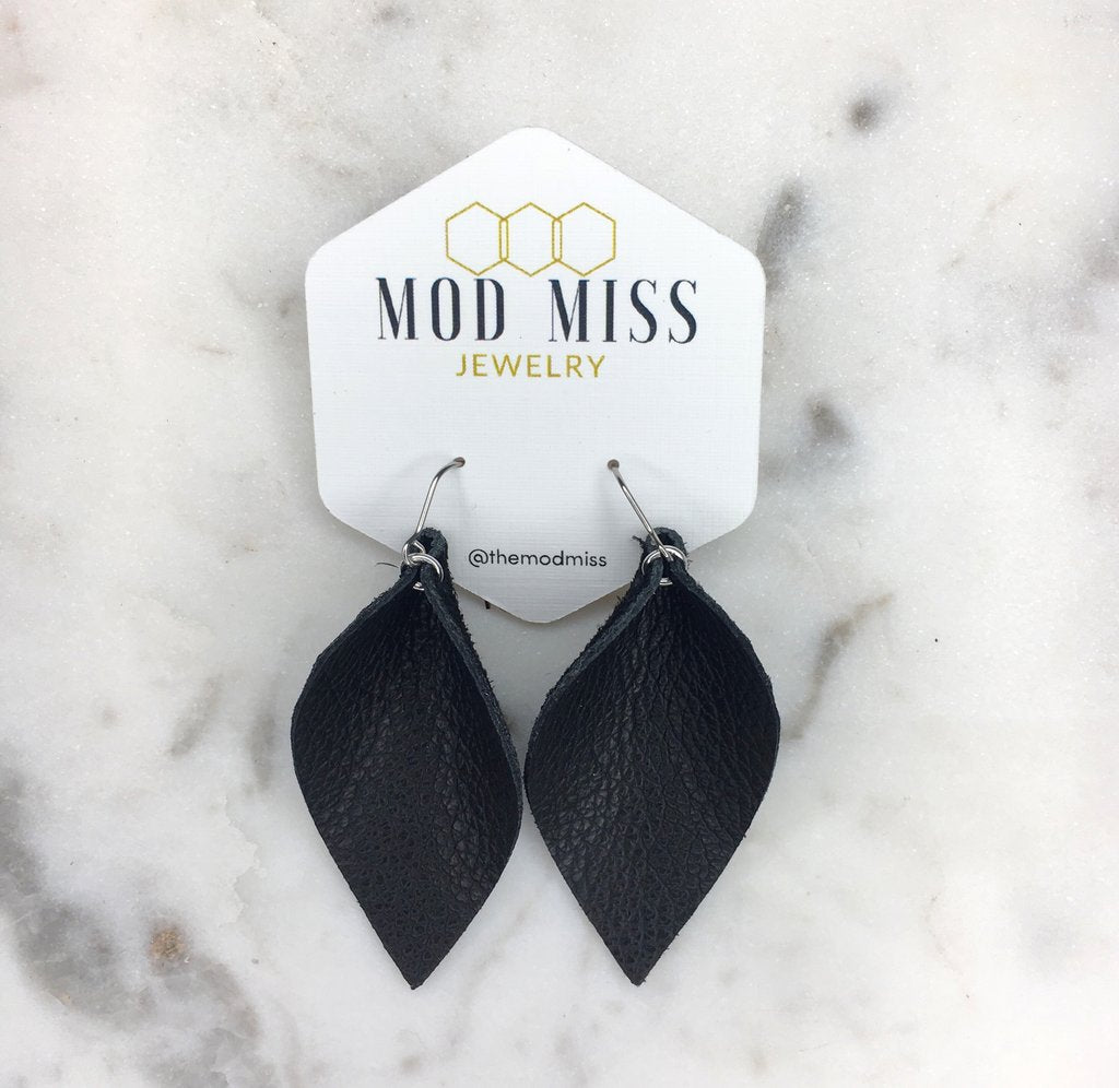"""Holly"" Black Leather Petal Earrings"