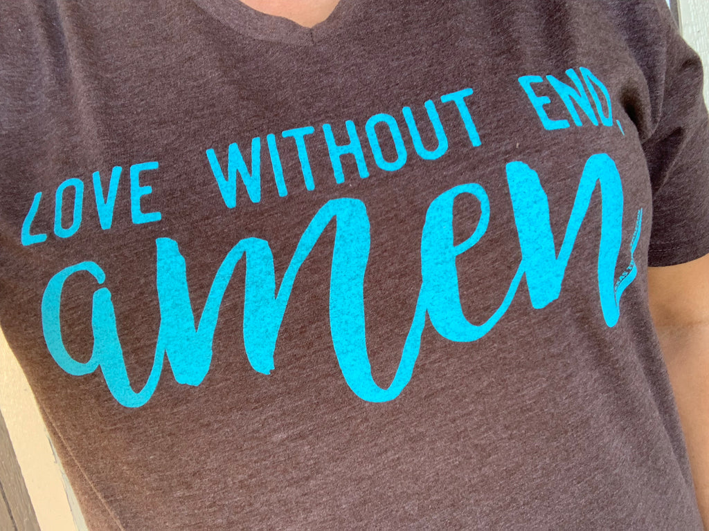 {LOVE WITHOUT END, AMEN} Turquoise + Brown V-Neck Tee