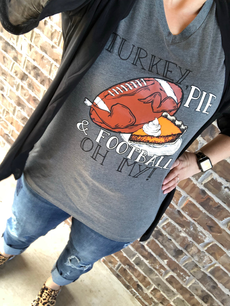 Turkey, Pie & Football OH MY! {THANKSGIVING} Gray V-Neck Tee
