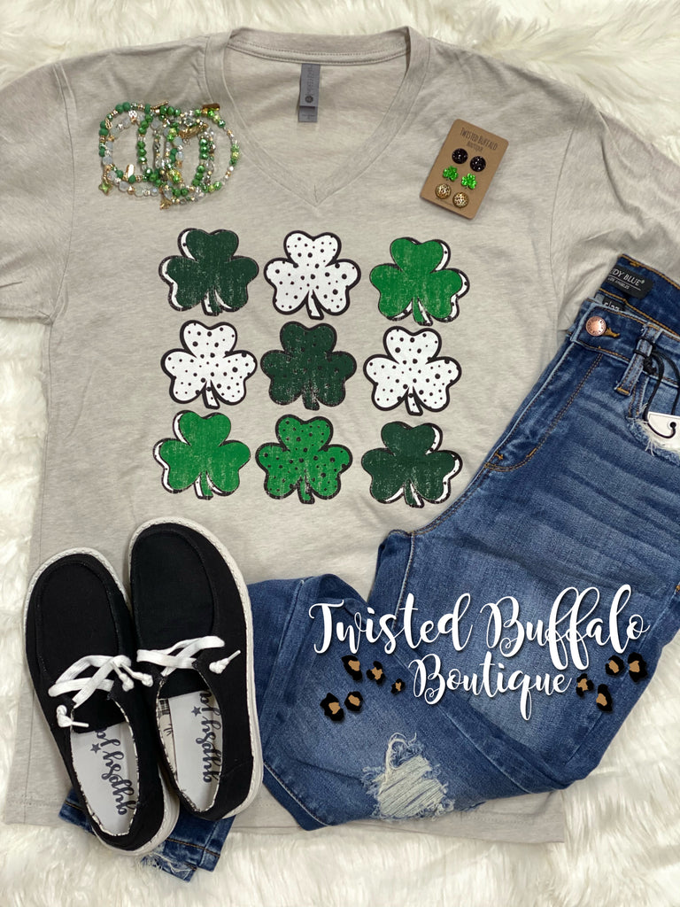 {PICK ME!} Multi-Patterned Clovers Sand V-Neck Tee