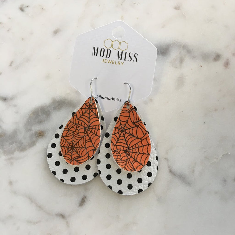 """Web"" Orange Web + Stripes Double Stacked Chunky Teardrop Earrings"