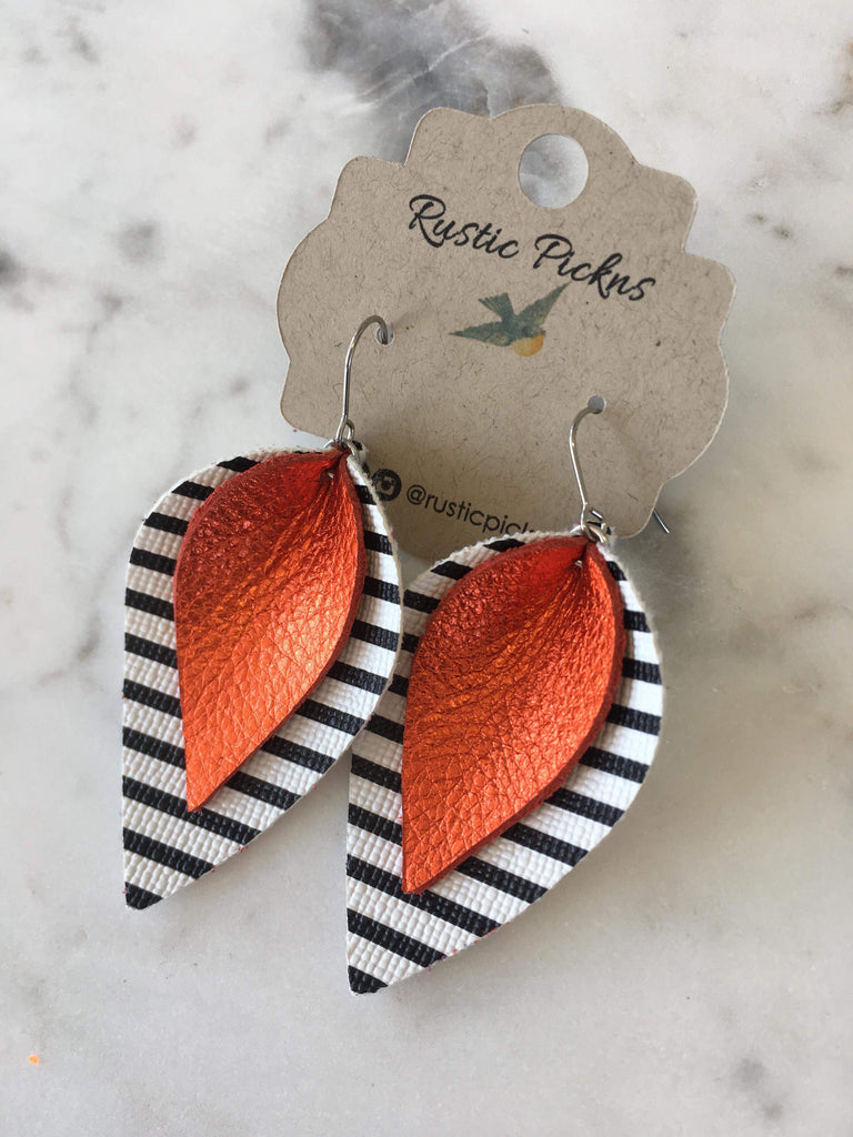 """Mary"" Orange + Black & White Striped Jo Petal Earrings"