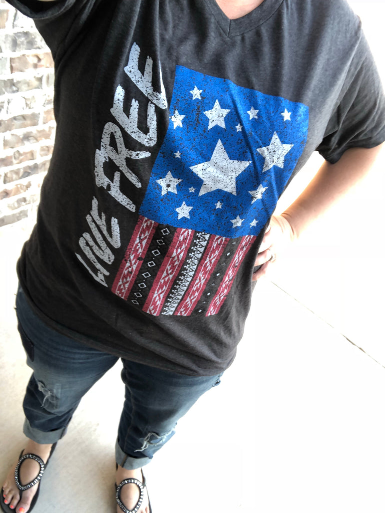 Live Free Patriotic Flag Graphite V-Neck Tee