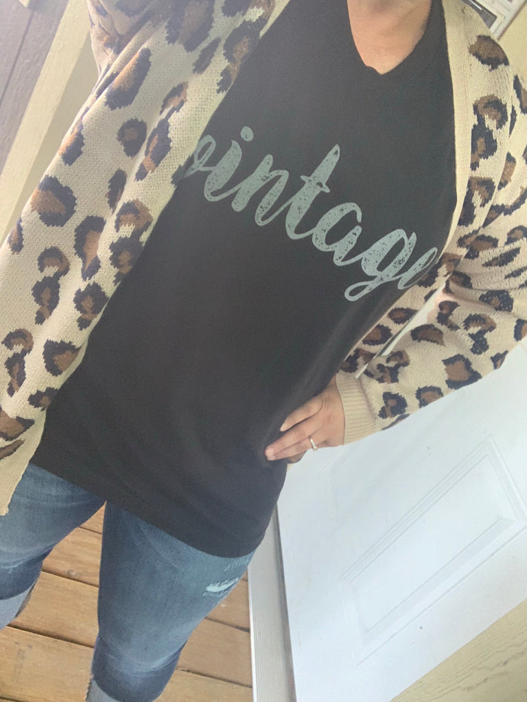 {DELANEY} LEOPARD Knit Sweater Cardigan With Pockets {BEST SELLER}