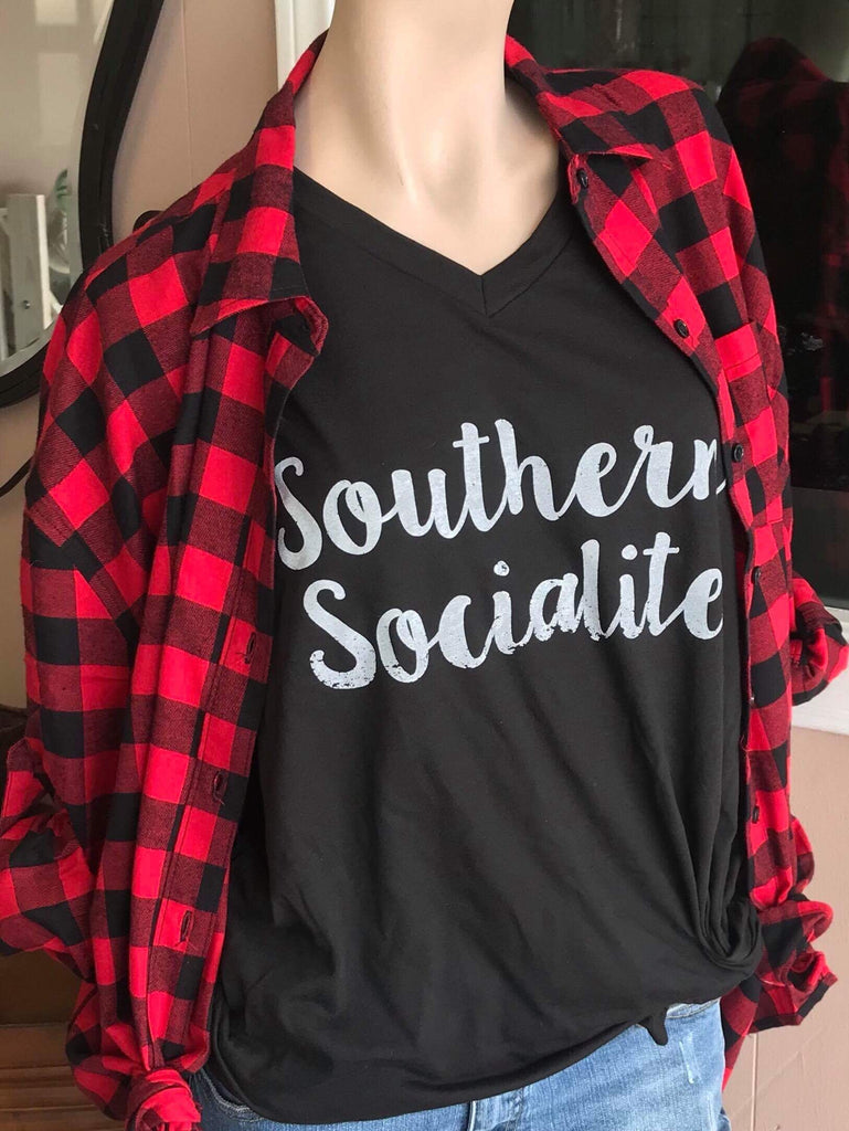 Twisted Tee $20 Special:  Southern Socialite Black V-Neck Tee (Pre-Order Ships in 2-3 Weeks)