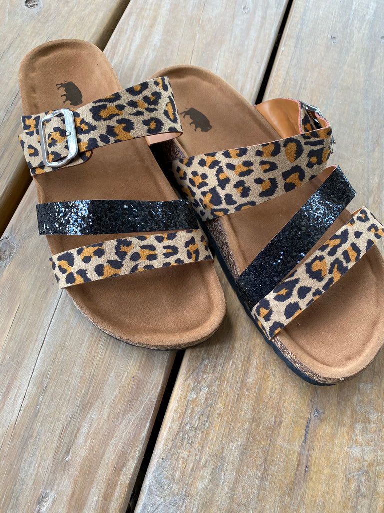 {STAY WILD} Leopard + Black Glitter Strap Sandals