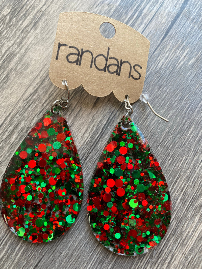"""Christmas Dots"" Red + Green Glitter Handcrafted Resin Earrings"