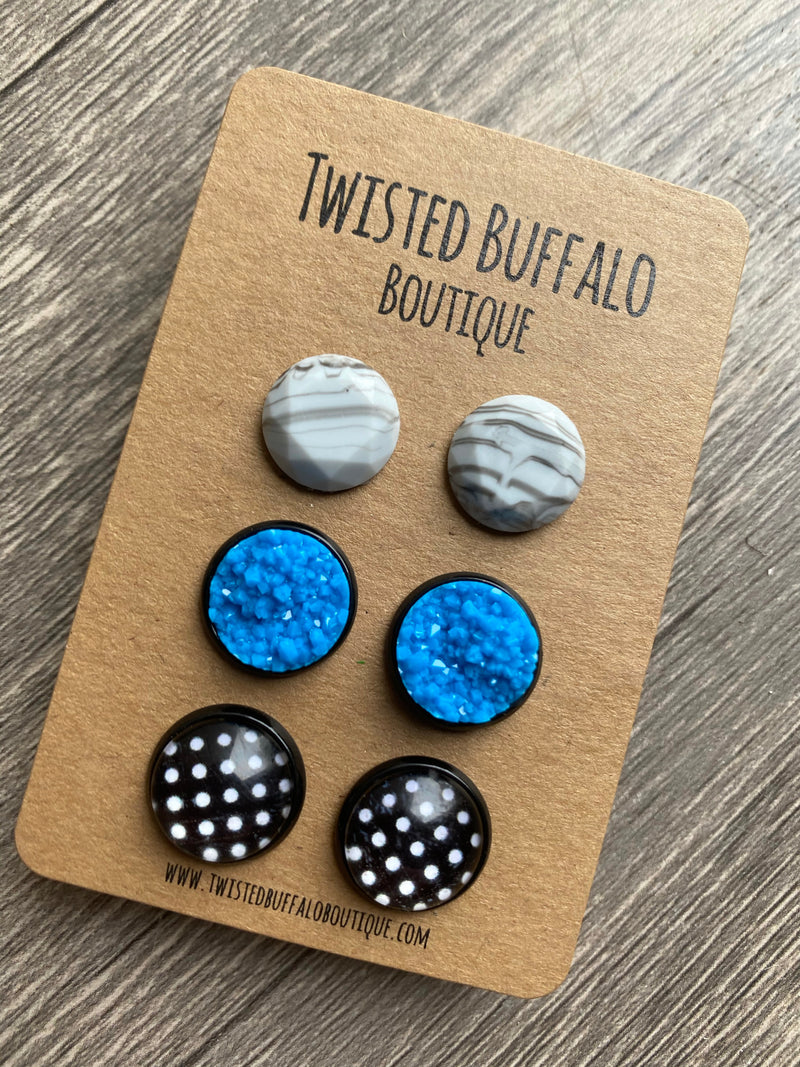 Ultramarine Blue Collection {ROUND} Druzy 12mm Earrings Set