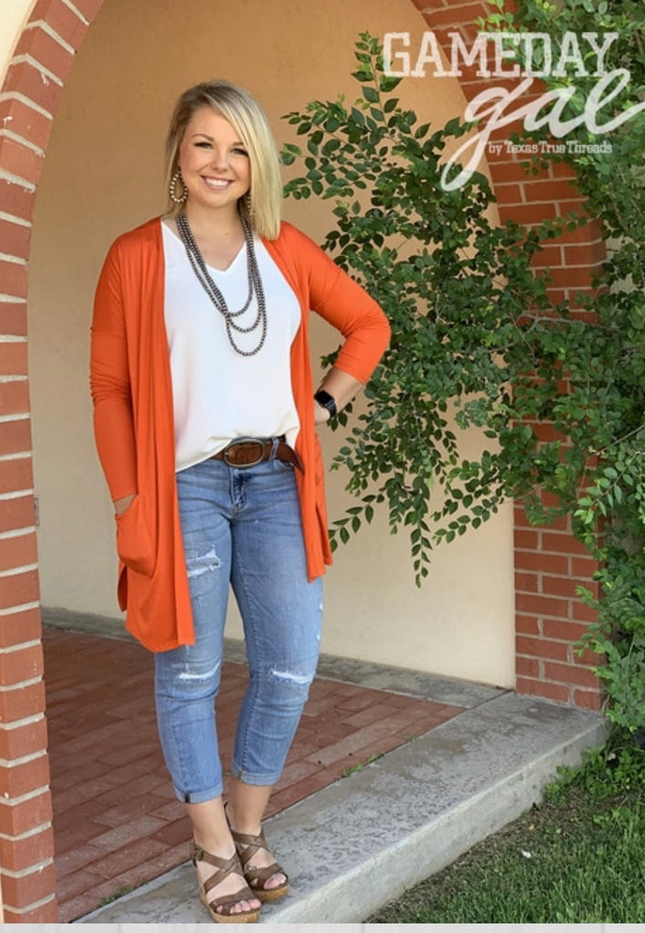 {PISTOL} Game Day Orange Cardigan with Pockets