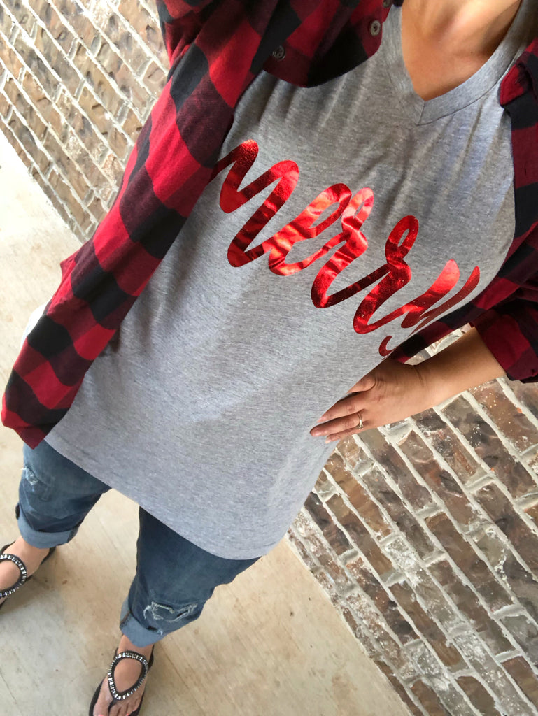 MERRY Distressed RED Foil Gray V-Neck Tee