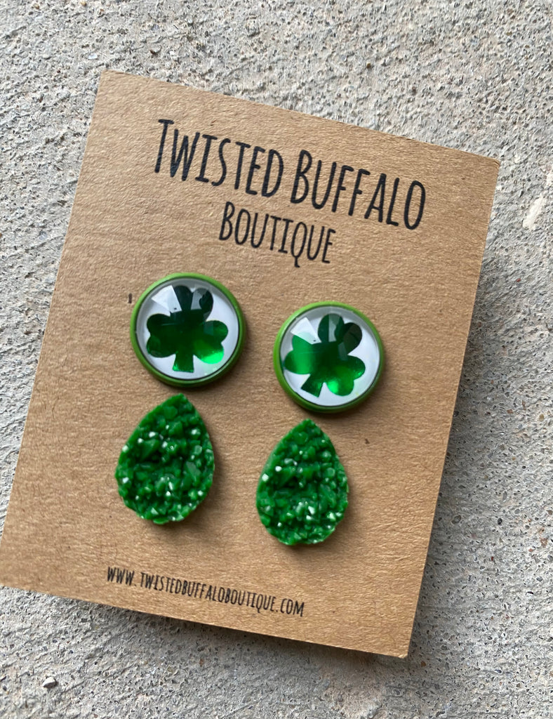 Shamrock Shuffle Collection Green Druzy 12mm Earrings Set