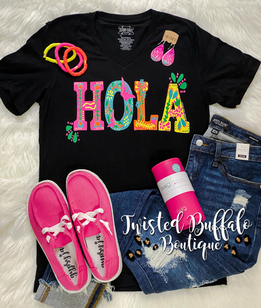 {HOLA} Bright + Festive Black Super Soft Black V-Neck Tee