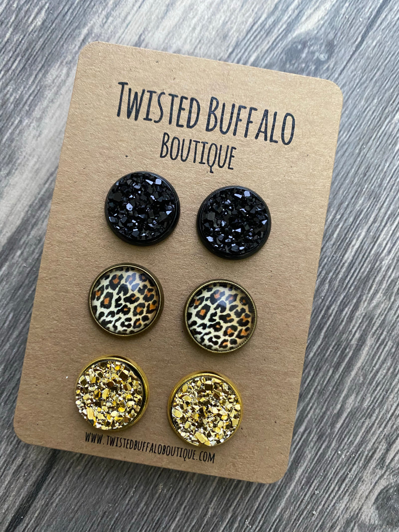 Joplin Collection {ROUND} Leopard, Black + Gold Druzy 12mm Earrings Set