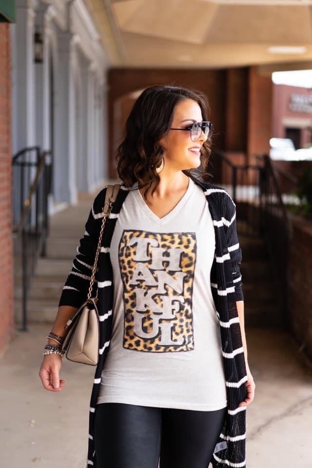 {PLAIN AS DAY} Thankful Leopard Block Oatmeal V-Neck Tee