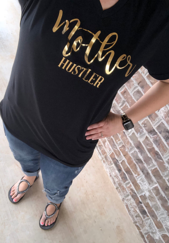 Mother Hustler Gold Foil Black V-Neck Tee