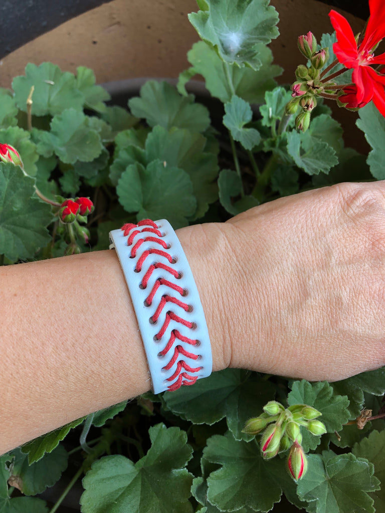 Baseball Laces Leather Adjustable Snap Bracelet