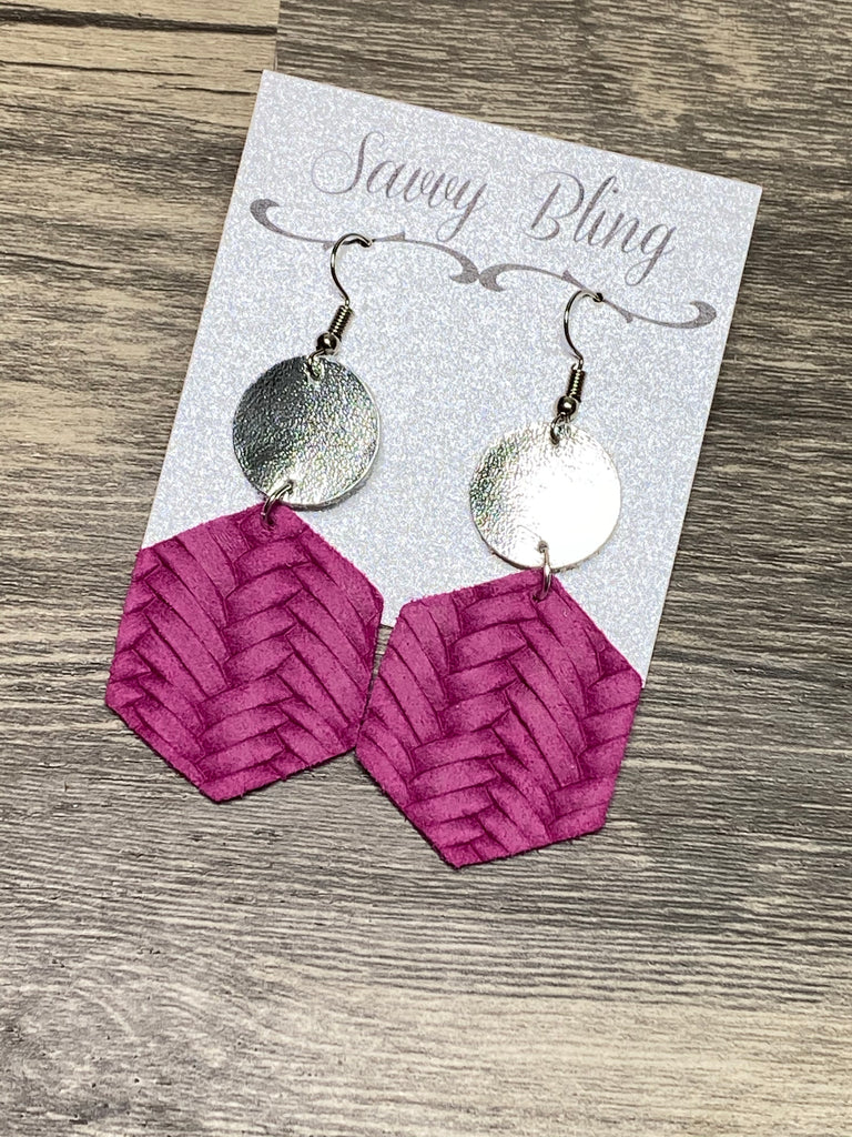 """Journey"" Pink Woven + Silver Mix + Match Hexagon Leather Earrings"