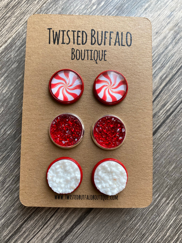 Peppermint Twist {ROUND} Red + White Druzy 12mm Earrings Set