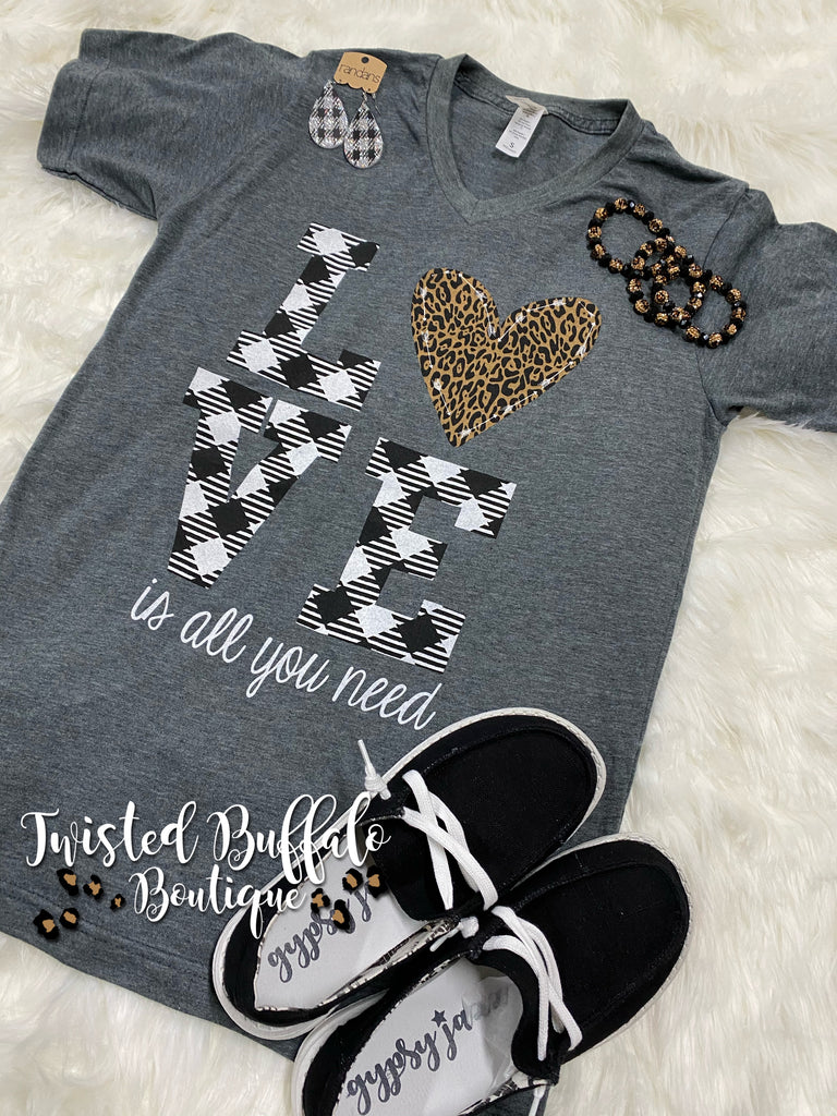 {LOVE IS ALL YOU NEED} Leopard + Plaid Charcoal Gray V-Neck Tee