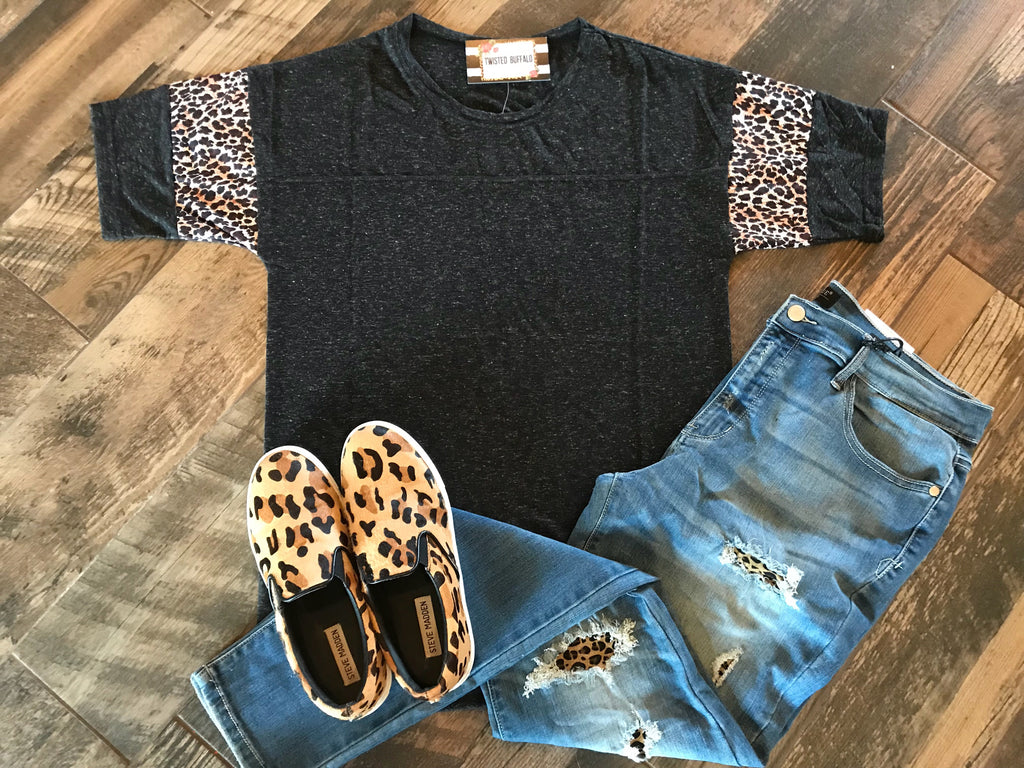 {JEMMA} Charcoal Black + Leopard Loose Fit Top