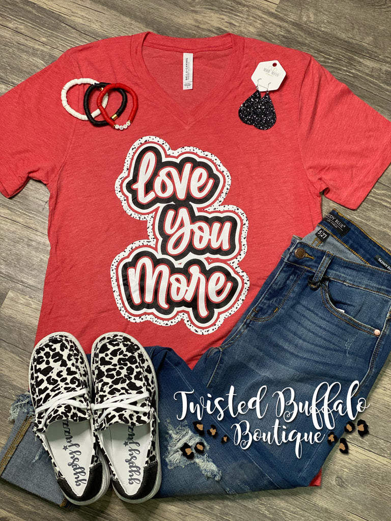 {LOVE YOU MORE} Spotty Heather Red V-Neck Tee