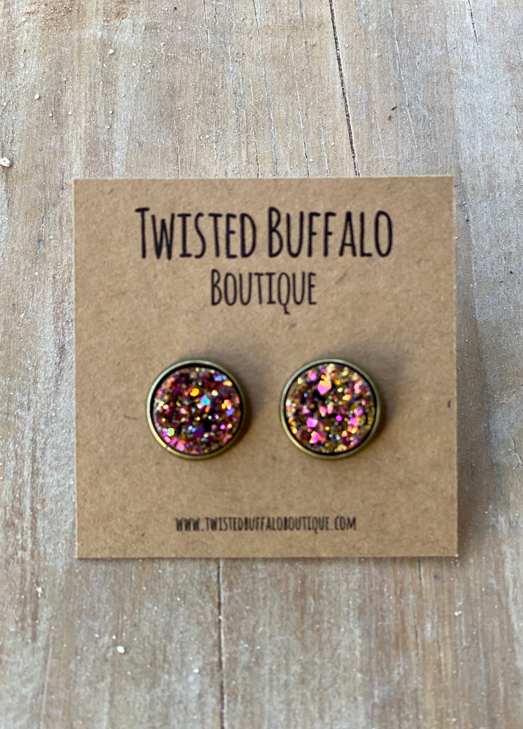 Oklahoma Sunset {ROUND} 12mm Druzy Earrings