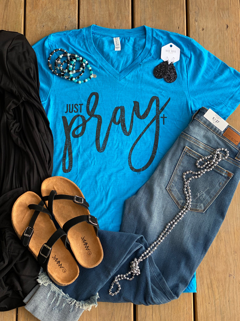 Neon Blue {JUST PRAY} Super Soft V-Neck Tee