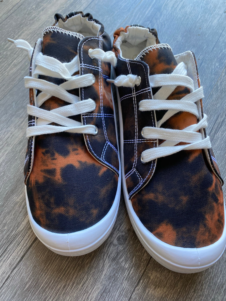 {SPOOKY} Black + Orange Tie Dye Slip On Sneakers