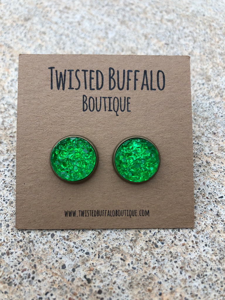 Buddy the Elf {ROUND} Bright Green 12mm Druzy Earrings