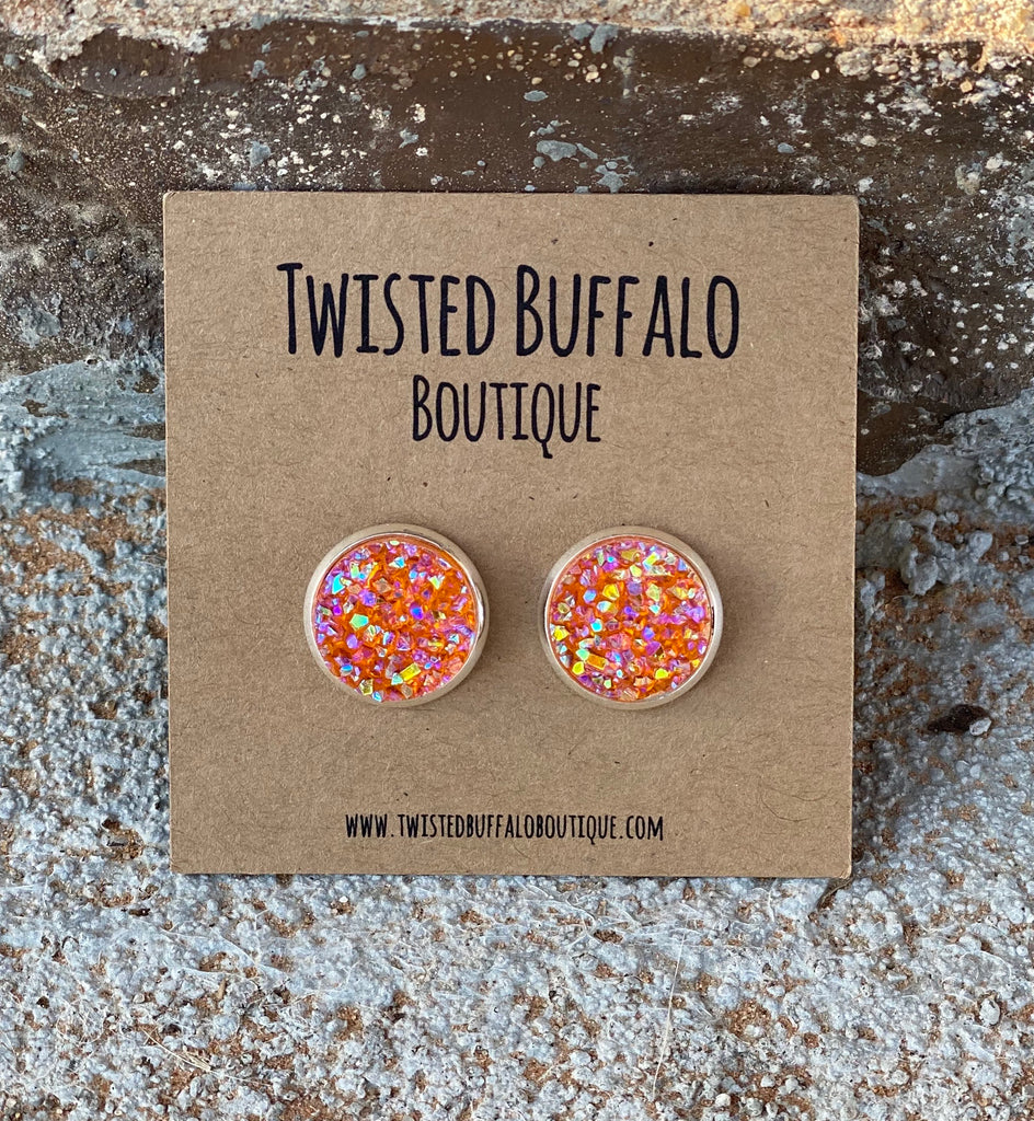 Tiger Lily {ROUND} Orange AB 12mm Druzy Earrings