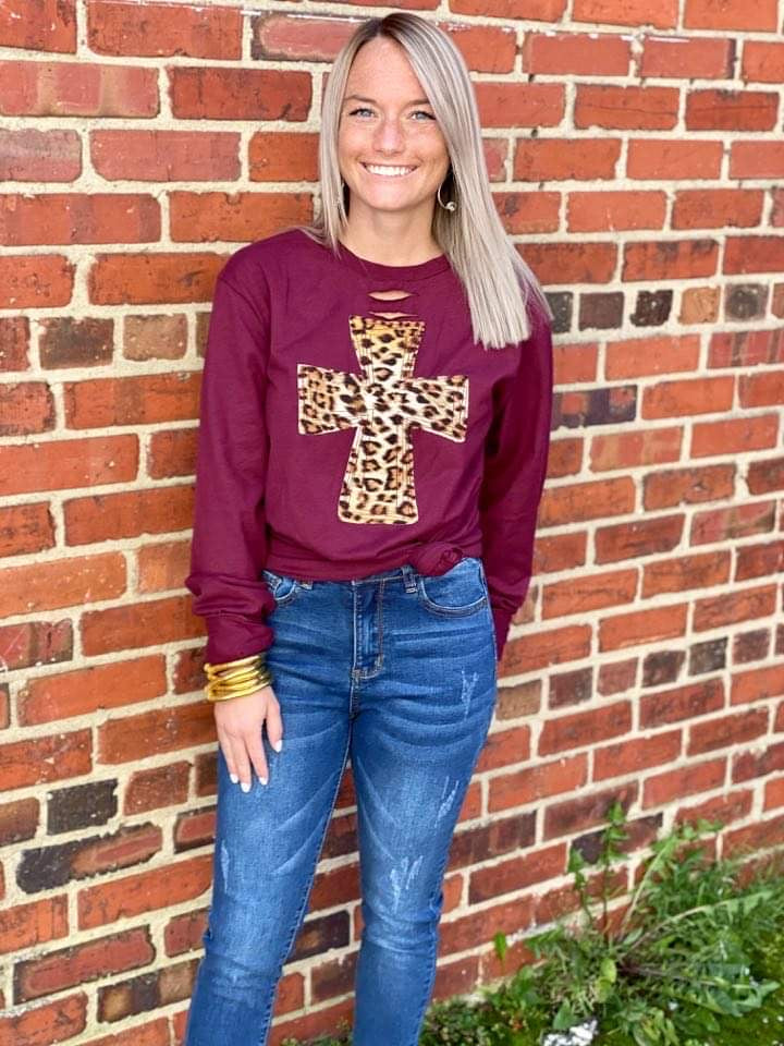 {STUNNING IN LEOPARD} Appliquéd Cross Distressed Long-Sleeve Maroon Tee