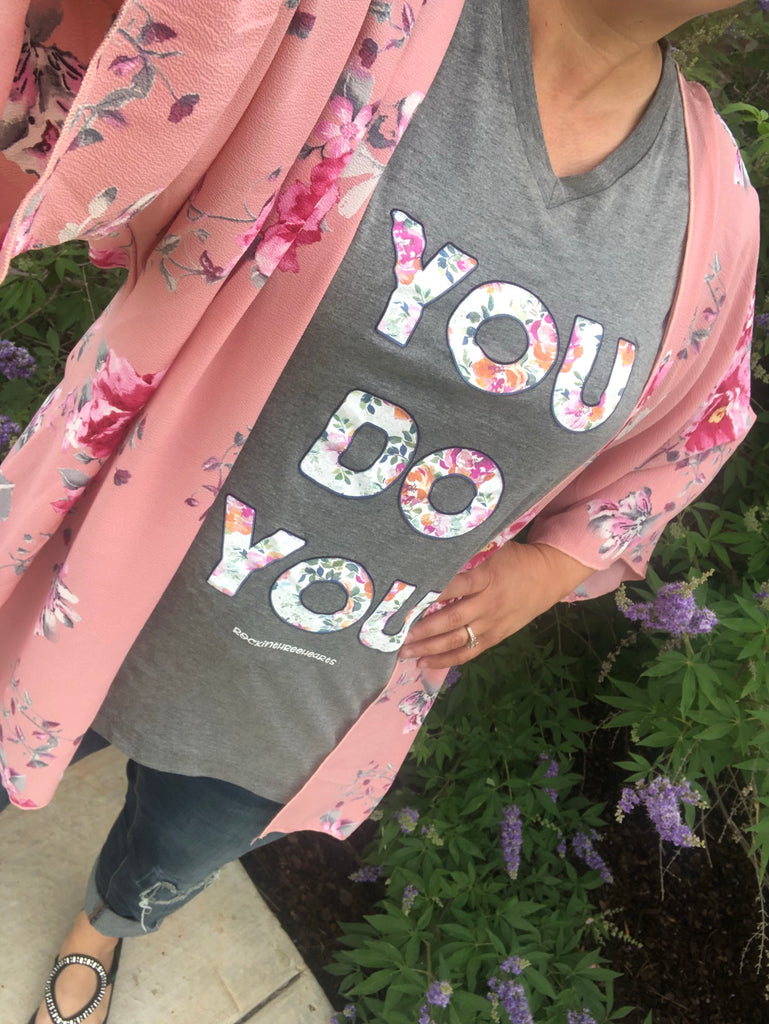 """Eden"" Wide Sleeve Pink Floral Kimono"