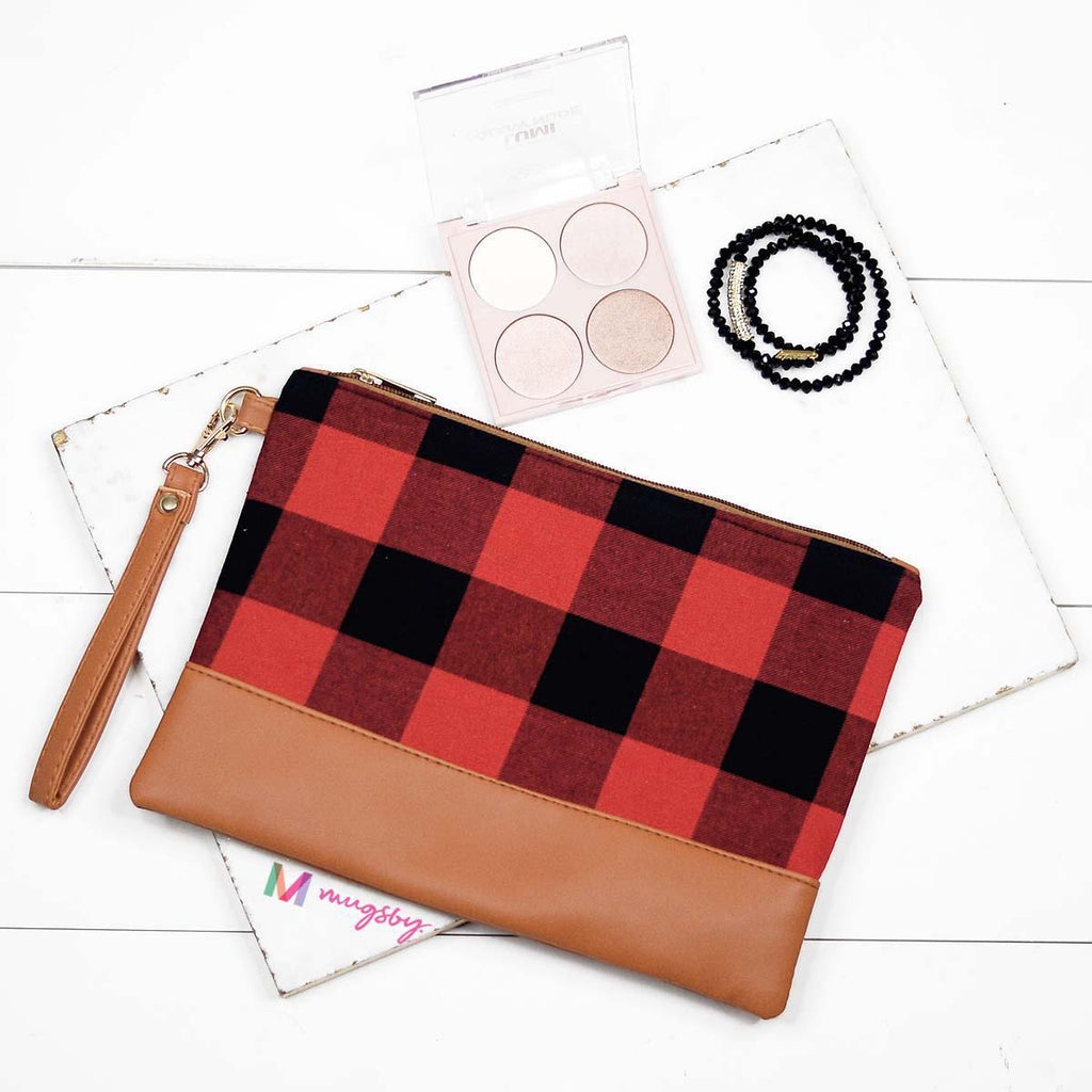RED + BLACK Buffalo Plaid Make Up Bag