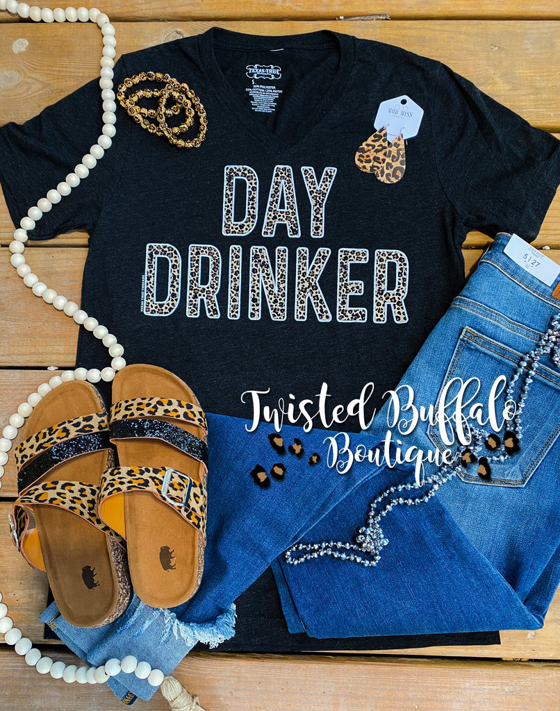 {DAY DRINKER} Leopard Design Char-Black V-Neck Tee