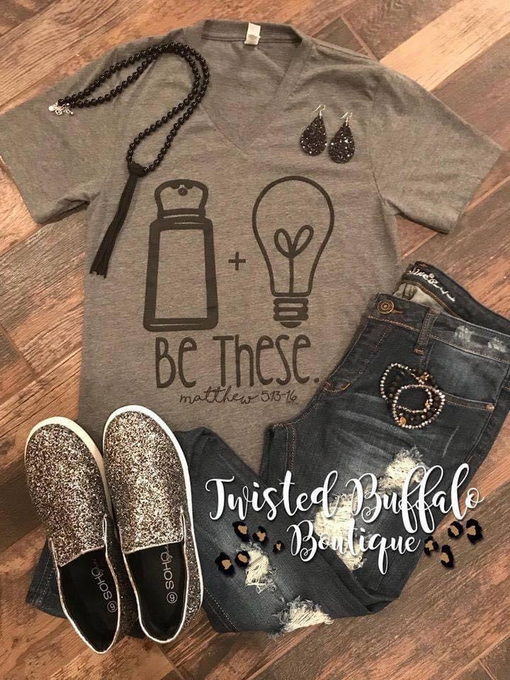 {BE THESE.} Salt + Light Matthew 5:13-16 Gray V-Neck Tee