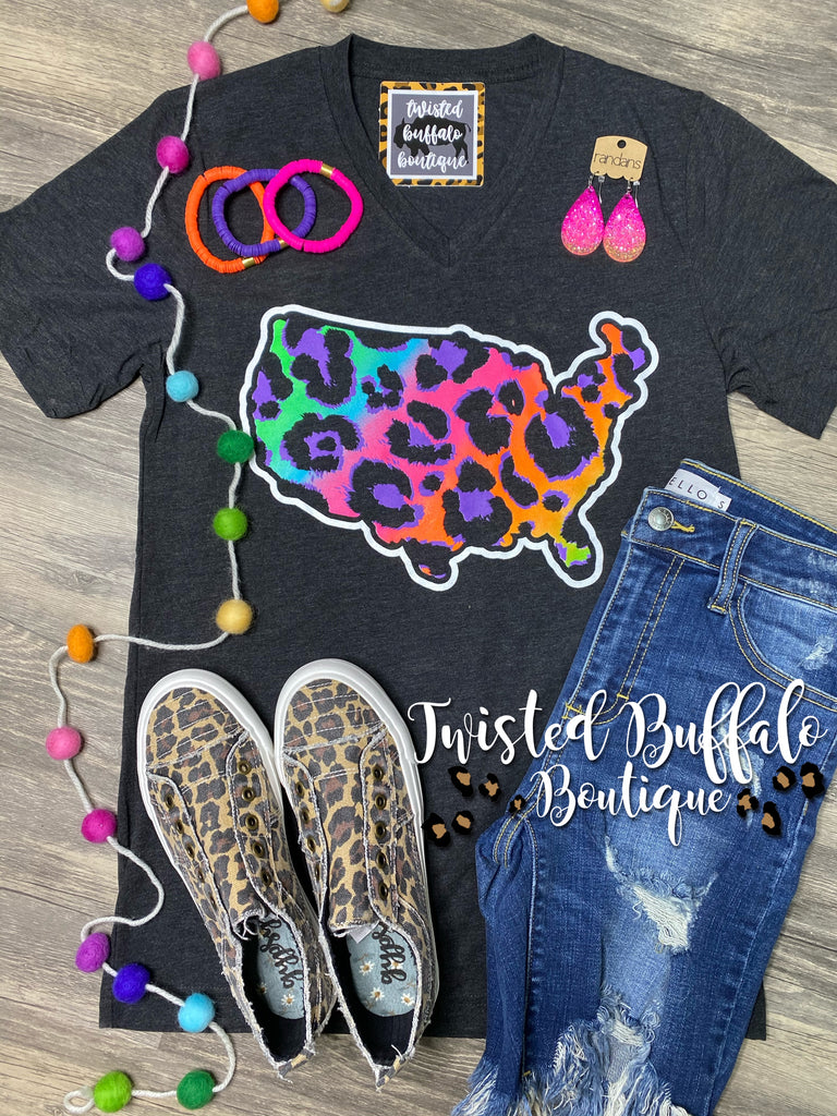 {PARTY IN THE U.S.A.} Neon Leopard Char-Black V-Neck Tee