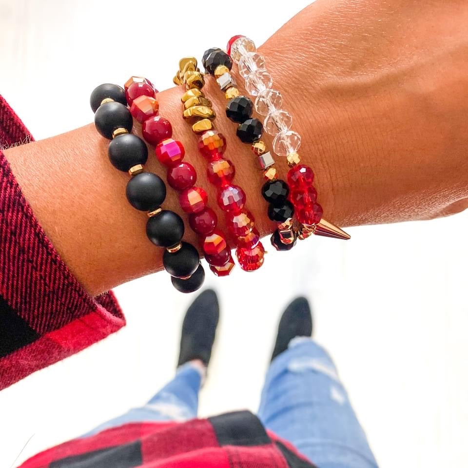 {BUFFY} Plaid Red + Black Bracelet Set (Set of 5)