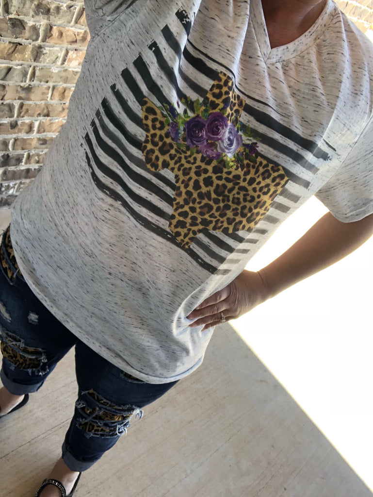 Leopard & Stripes Floral Texas Tee