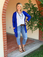 {DUCHESS} Game Day Royal Blue Cardigan with Pockets