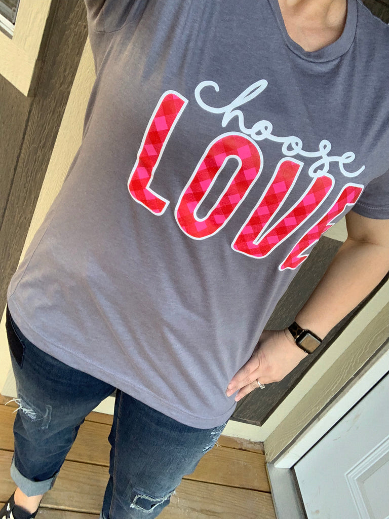 {CHOOSE LOVE} Heather Storm Crew Neck Tee