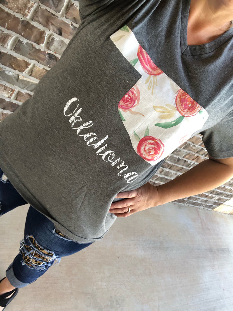Cabbage Rose Oklahoma Floral Appliqued Gray V-Neck Tee