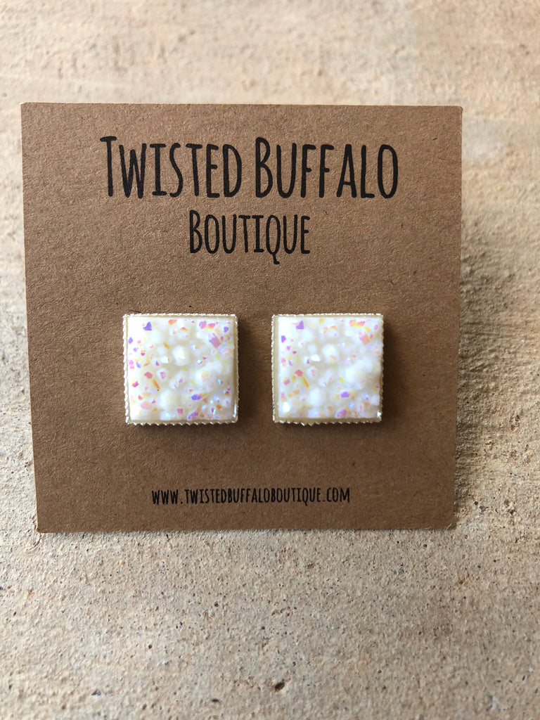 Blizzard White Sparkle Druzy 12mm Square Stud Earrings