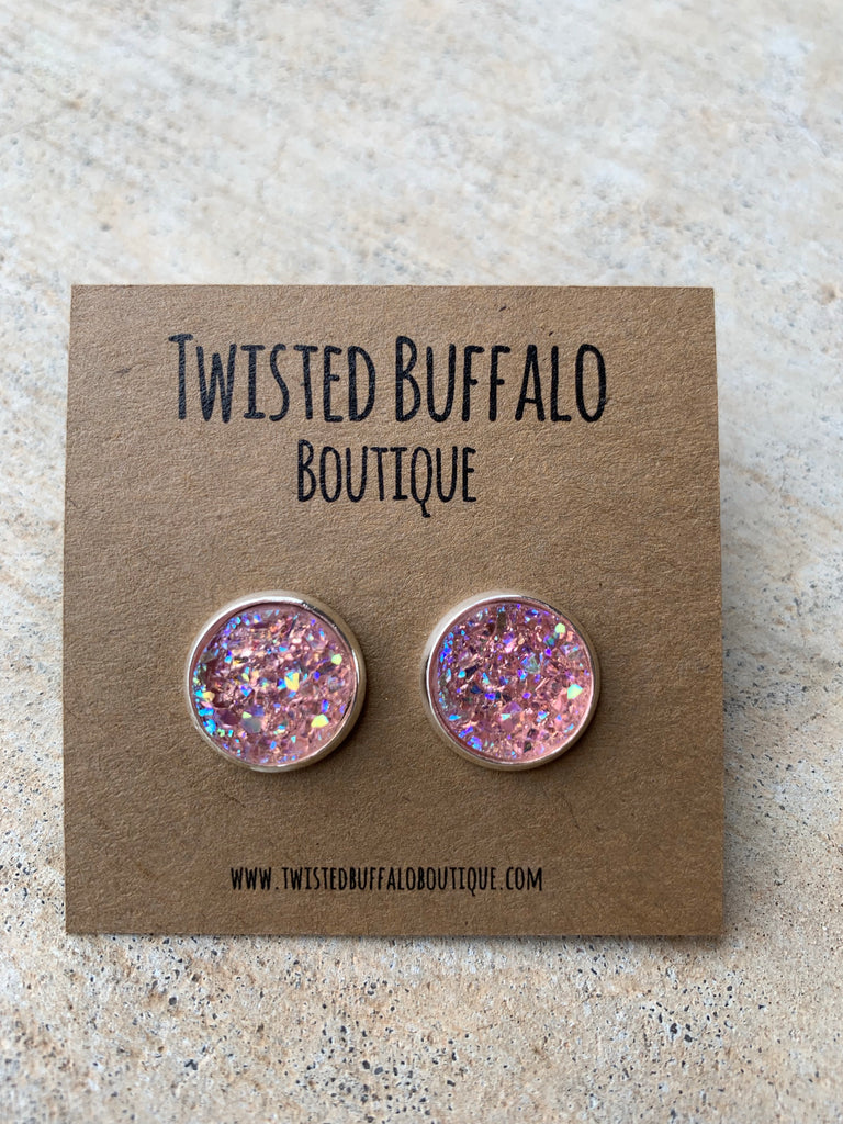 Made You Blush {ROUND} Light Pink Sparkle 12mm Druzy Earrings
