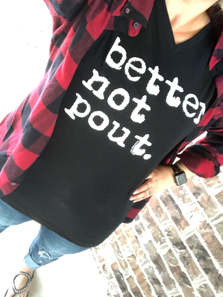 Vintage Better Not Pout Black V-Neck Tee