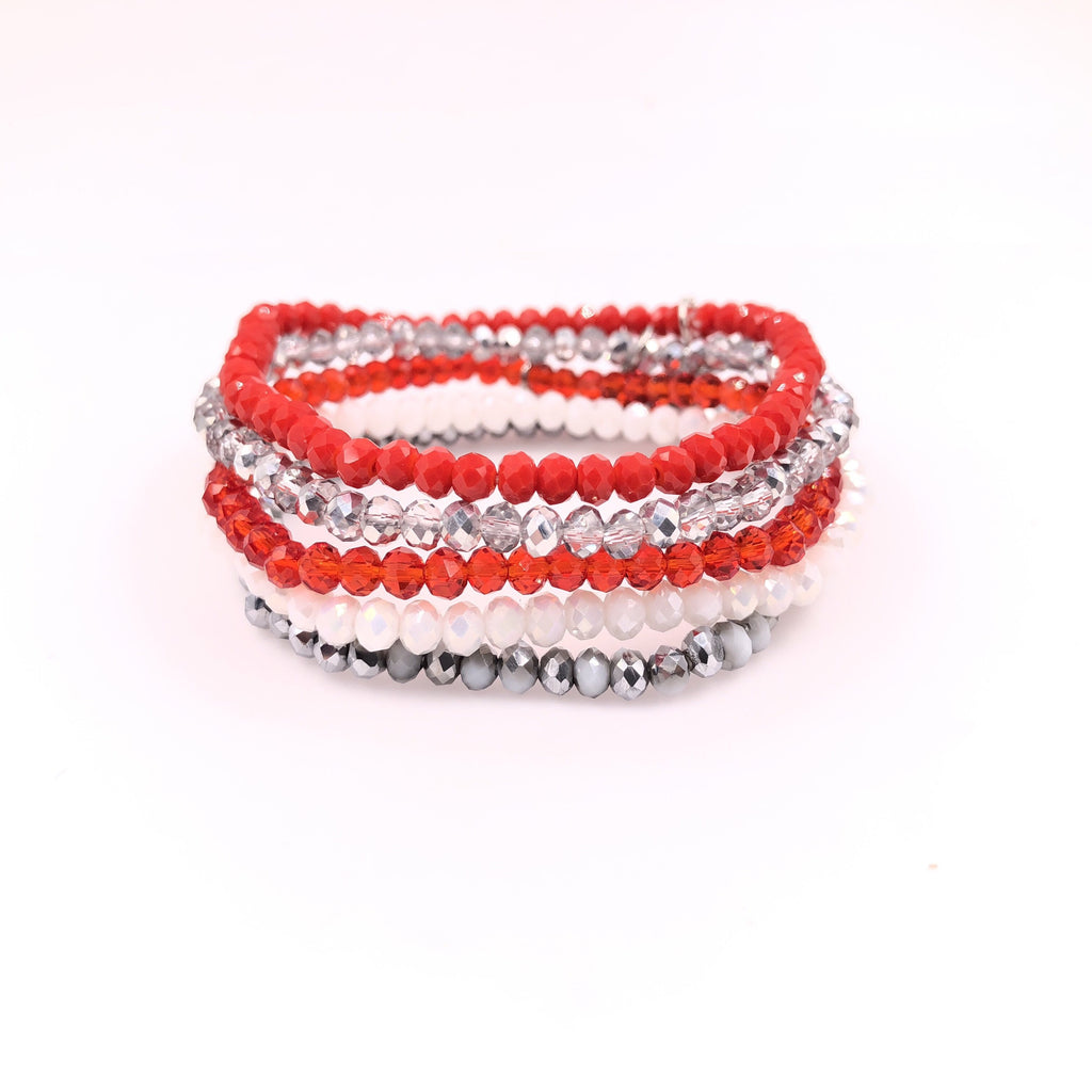 Mini Stacks - Peppermint Twist (Red & White) Set of 5 Bracelets