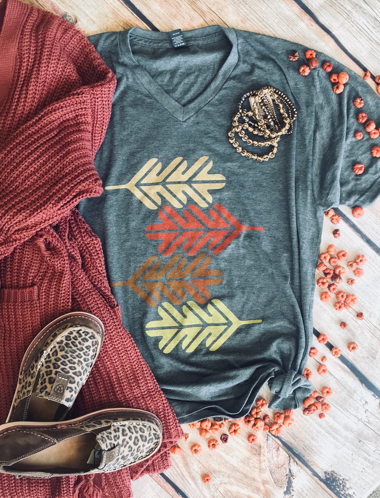 Autumn Leaves are Falling Down Charcoal Gray V-Neck Tee